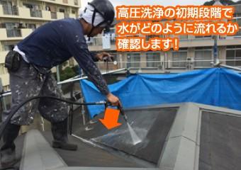 高圧洗浄の初期段階で水がどのように流れるか確認します