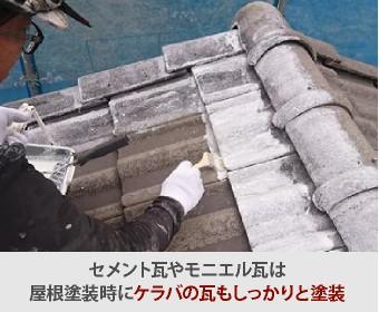セメント瓦やモニエル瓦は屋根塗装時にケラバの瓦も塗装します