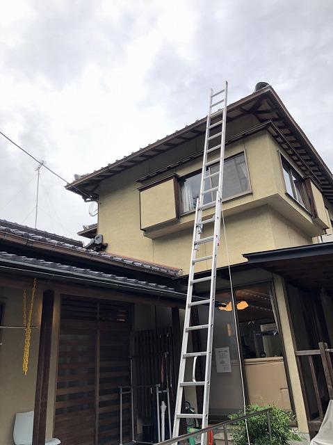 大津市瀬田にて台風で棟瓦が破損したために現場調査