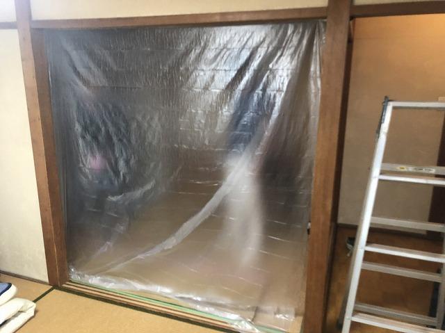 大津市追分町にて天井が雨漏れしている為に天井張り替え工事