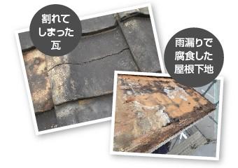 割れてしまった瓦・雨漏りで腐食した屋根下地